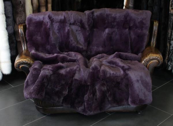 German Rabbit Fur Blanket long-haired in aubergine