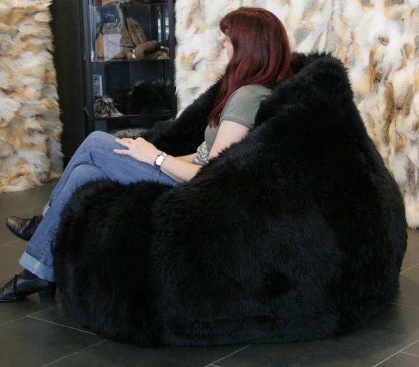 Lamb Fur Bean Bag in black