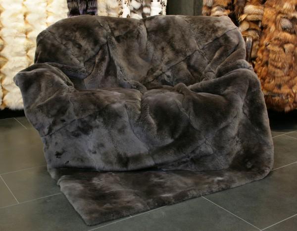 Natural rex rabbit fur throw in grey