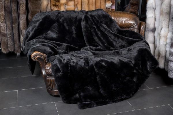 Black Rabbit Fur Blanket