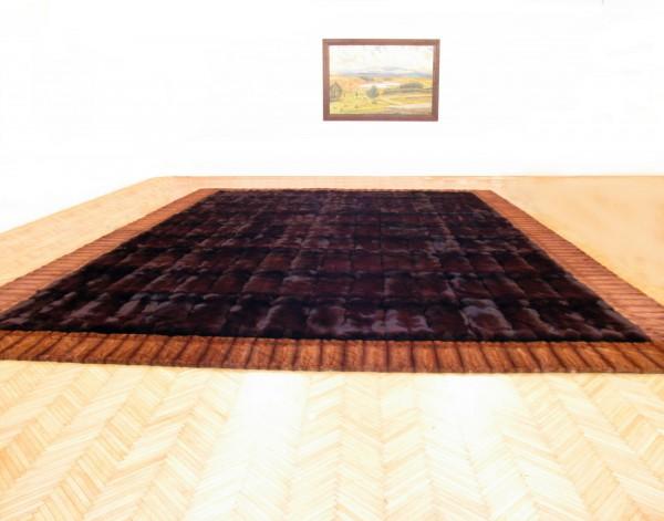 Large Blue Fox Fur Carpet with Mink Border