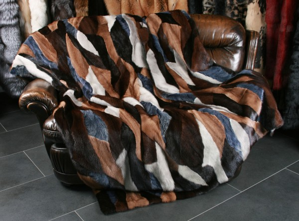 Patchwork Mink Blanket in Multicolour