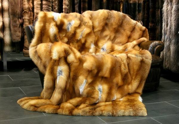 Delightful Canadian red fox fur throw