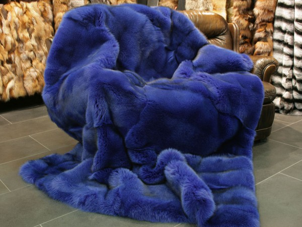 SAGA blue fox fur blanket