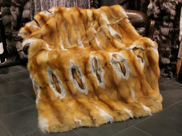 Individually crafted Canadian Red Fox Fur Blanket