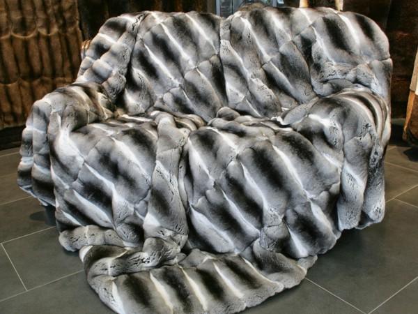 Natural chinchilla fur blanket