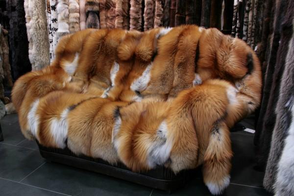 SAGA Gold Fox fur blanket