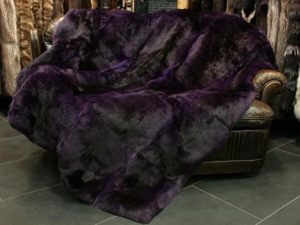 Rabbit fur blanket in purple