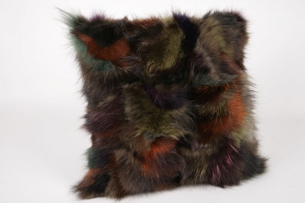 Raccoon multicoloured Fur Pillow