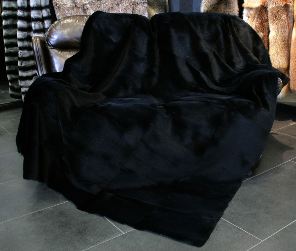 Sheared rabbit fur blanket - black