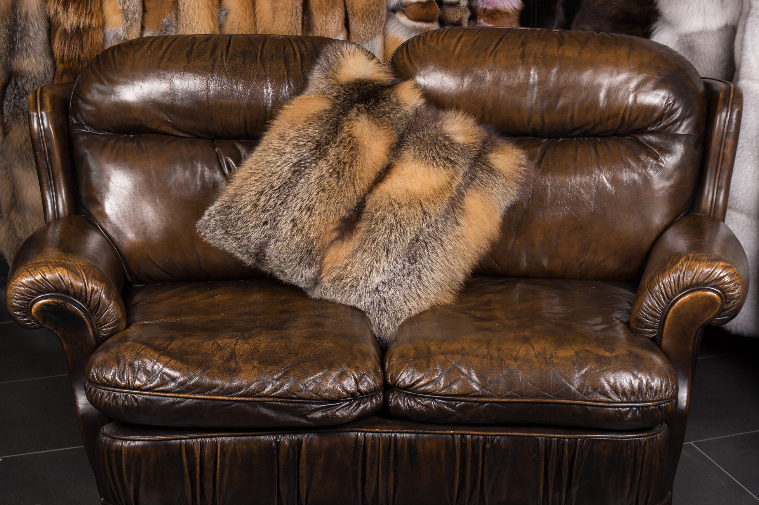 Real Fur Pillow from Canadian Wild Cross Fox
