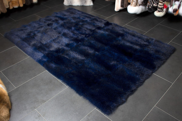 Real Possum Fur Carpet in Ocean Blue - 100% Wild Fur