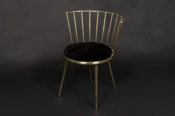 Cantori Chair with Plucked Mink Upholstery in Black