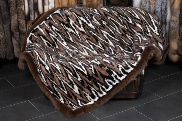 Brown Mink Pieces Blanket by Lars Paustian