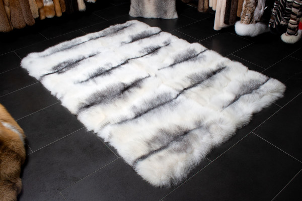 Shadow Blue Frost Fox Fur Rug - Genuine Fur