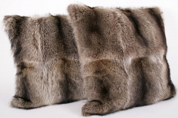 Fur pillow made from raccoon furs