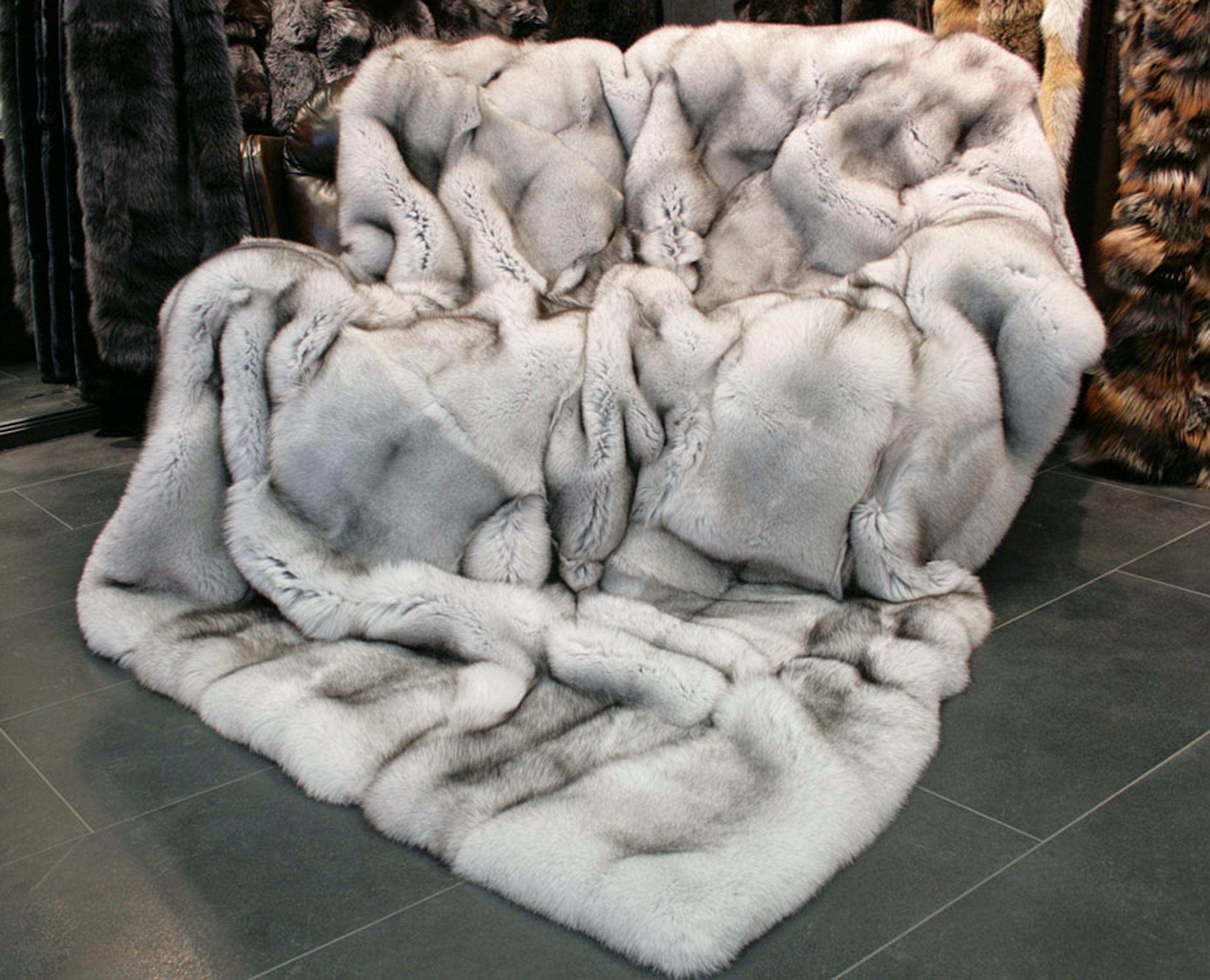 Saga Blue Fox Fur Blanket In Natural Color Lars Paustian