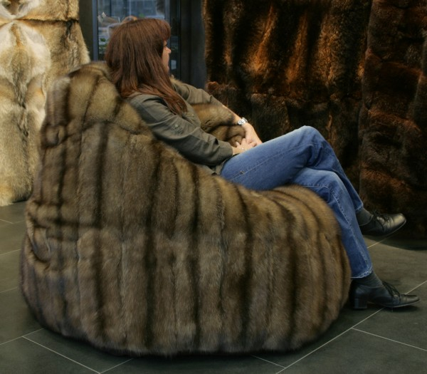 Bargusin Sable fur bean bag