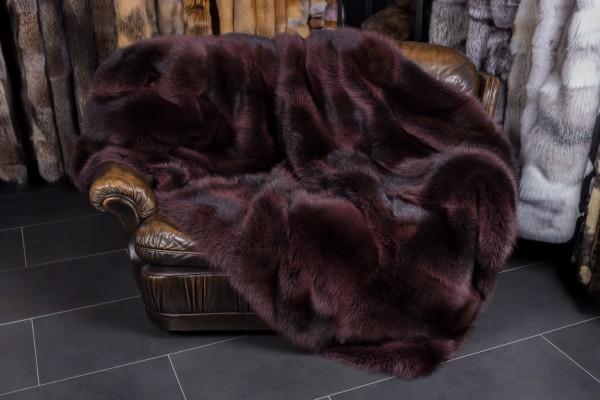 Canadian Raccoon Fur Throw Aubergine