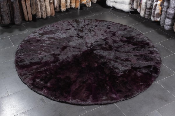 Round Rabbit Fur Rug in Purple