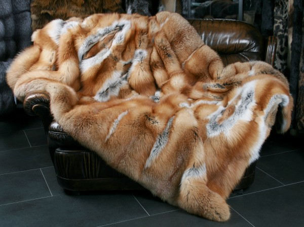 Canadian Red Fox Fur Blanket