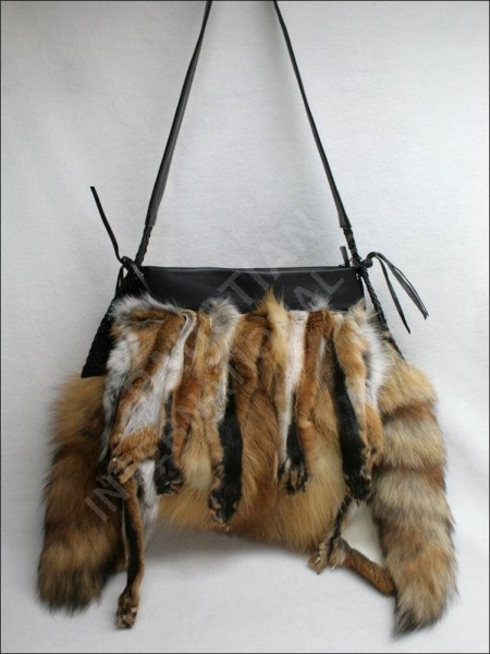 Gorgeous handbag made of European red fox fur