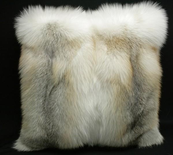 Fawn light fox fur pillow