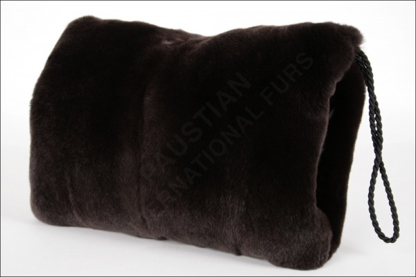 Rex Rabbit Fur Muff in brown with interior bag