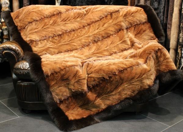 Mink Fur Rug with Bluefox Trim