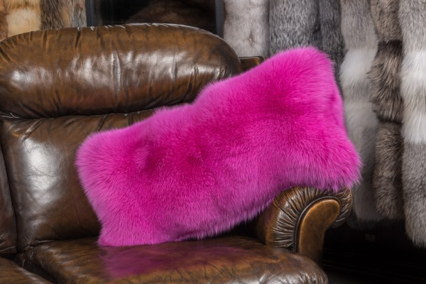 Pink Shadow Fox Fur Pillow
