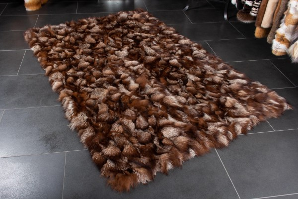Scandinavian Real Fox Fur Carpet in Maroon Brown