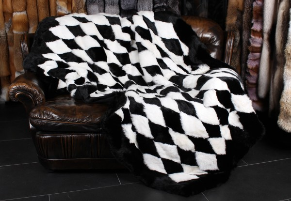 Real Rabbit Fur Throw - Black & White