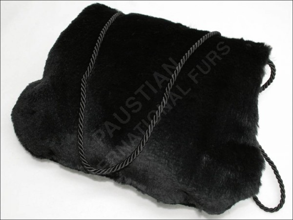 515 Black rabbit fur muff