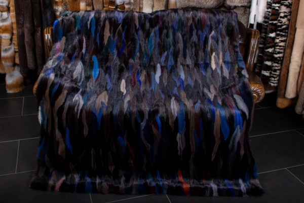 Mink Tail Fur Blanket in Midnight Blue