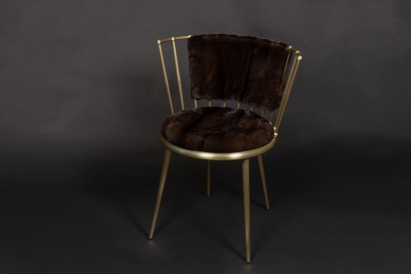 Mink Chair with Mahogany Mink Skins