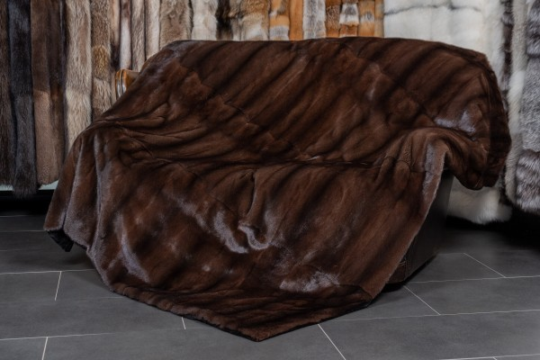 Mahagany Mink Fur Blanket with Black Kolinsky Lining