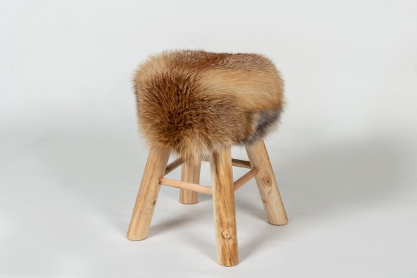 Fur Stool with European Red Fox