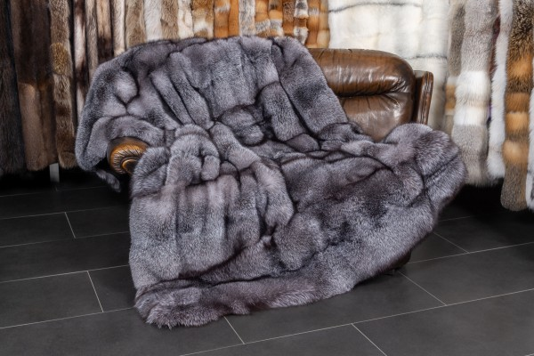 Blue Frost Fox Blanket with black, sheared Kolinsky Backing