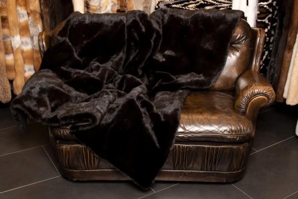 Black Fitch Fur Blanket - Real Fur
