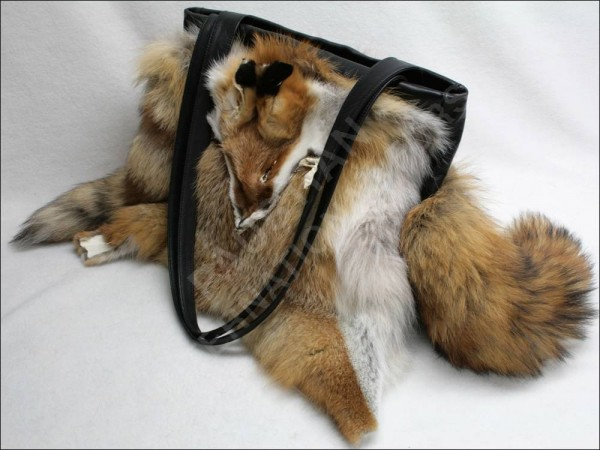 Large handbag made of European red fox fur