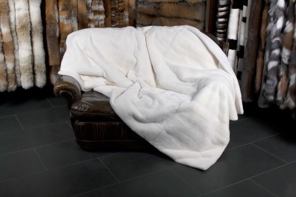 Kopenhagen Fur TOP LOT Mink Fur Blanket with plucked Mink backing in white