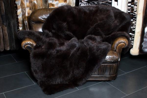 Cozy Possum Fur Blanket in Dark Brown