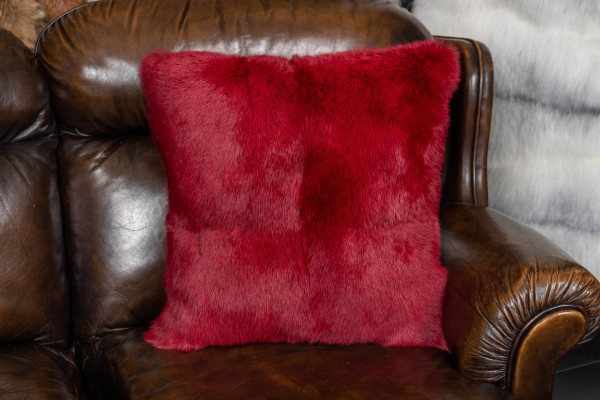 Real Rabbit Fur Pillow in Red