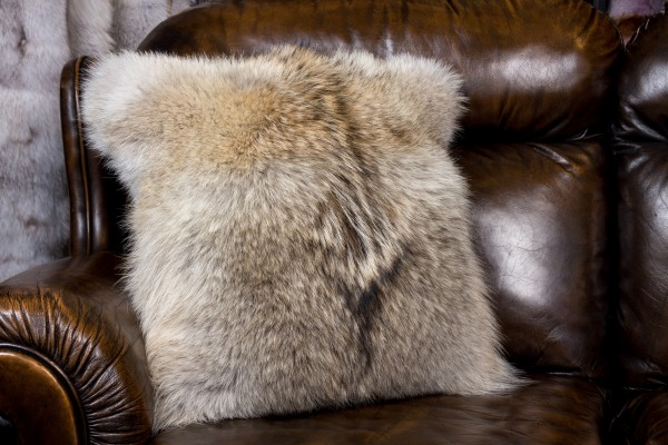 Candian Coyote Fur Cushion NAFA