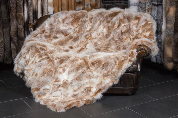 "Fur Blanket made from Fox Sides - ""Snow Top"""