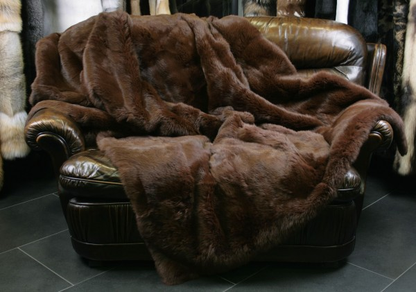 Noble Fur Blanket from Rabbit Skins in Chocobrown
