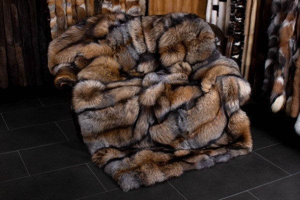 Cozy Real Fox Fur Blanket - Genuine Smokey Fox Fur