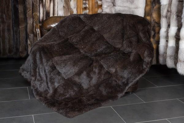 Rabbit Fur Blanket dark brown