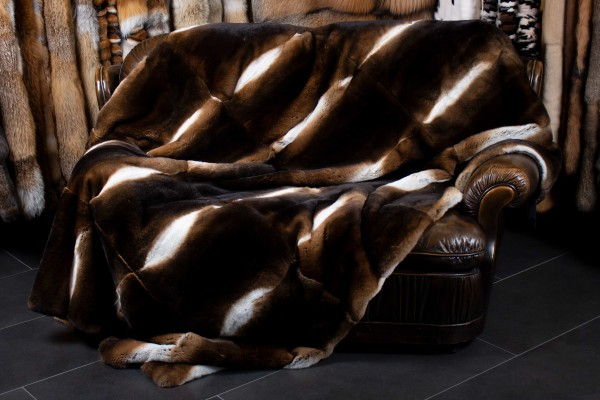 Castor Rex Rabbit Fur Throw - Dark Type