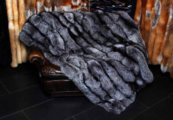Real Fur Blanket made from elegant Scandinavian silver foxes